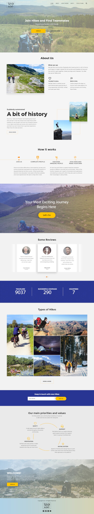Landing page for TripHunt full