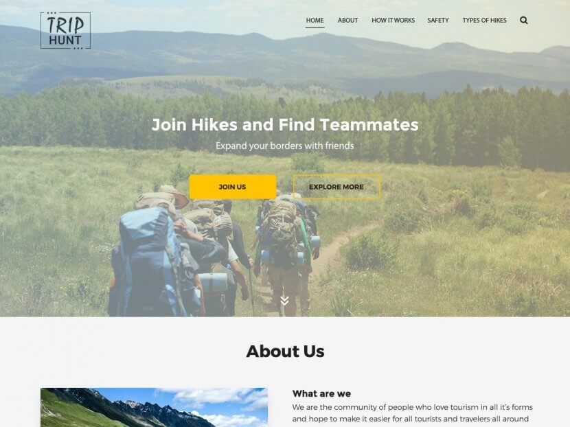 Landing page for TripHunt